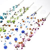 Стеклянный Ожерелье, с железный цепи & Акрил, с 5cm наполнитель цепи, Форма цветка, 3-нить, разноцветный, 6-10mm, длина:Приблизительно 16.5 дюймовый, 3пряди/сумка, продается сумка