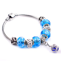 European Bracelet Lampwork with Clay Pave   brass chain   Zinc Alloy Crown plated different length for choice   faceted   with rhinestone 180-200mm