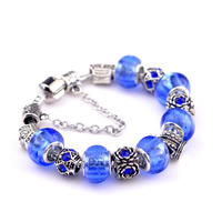 European Bracelet Zinc Alloy with brass chain   Lampwork Crown antique silver color plated different length for choice   with rhinestone nickel lead   cadmium free 180-200mm