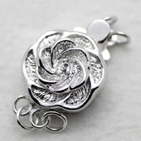 Brass Box Clasp, Flower, silver color plated, with 925 logo & 2-strand, nickel, lead & cadmium free, 20x11mm, Sold By PC