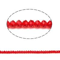 Kryształowe koraliki rondelle, Kryształ, Okrąg, fasetowany & imitacja kryształu CRYSTALLIZED™, szkarłat, 5x6mm, otwór:około 1mm, długość:około 17 cal, 10nici/torba, około 80komputery/Strand, sprzedane przez torba