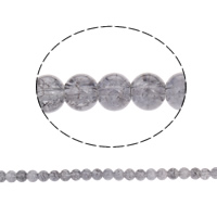 Crackle Glass Beads, Round, grey, 8mm, Hole:Approx 1.5mm, Length:Approx 31.4 Inch, 10Strands/Bag, Sold By Bag