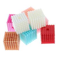 ABS пластик жемчужина Бусины, с OPP, Куб, съемный, Много цветов для выбора, 20mm, отверстие:Приблизительно 3mm, 9ПК/сумка, продается сумка