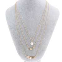 Multi Layer Necklace, Zinc Alloy, with ABS Plastic Pearl & iron chain, with 6.5cm extender chain, gold color plated, oval chain & 3-strand & faceted & with rhinestone, nickel, lead & cadmium free, 10mm-40x17x4mm, Sold Per Approx 17.3 Inch Strand