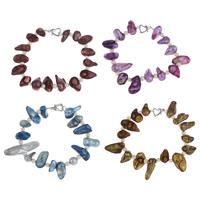 Браслеты из ракушек , Ракушка, с Пресноводные жемчуги, латунь замочек, разные стили для выбора, Много цветов для выбора, 8-10mm, Продан через Приблизительно 7.5 дюймовый Strand