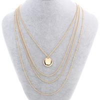 Multi Layer Necklace Zinc Alloy with iron chain with 6.5cm extender chain Flat Round gold color plated 4-strand nickel lead   cadmium free 18x2mm Sold Per Approx 16.5 Inch Strand