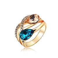 Австрийский хрусталь палец кольцо, цинковый сплав, с Австрийский хрусталь, Каплевидная форма, плакирование настоящим розовым золотом, граненый, не содержит никель, свинец, 15x22mm, размер:6-9, продается PC