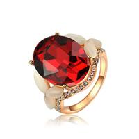 Австрийский хрусталь палец кольцо, цинковый сплав, с Австрийский хрусталь & кошачий глаз, Плоская овальная форма, плакирование настоящим розовым золотом, граненый, не содержит никель, свинец, 22x17mm, размер:6-9, продается PC