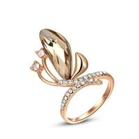 Австрийский хрусталь палец кольцо, цинковый сплав, с Австрийский хрусталь, бабочка, плакирование настоящим розовым золотом, граненый, не содержит никель, свинец, 27x19mm, размер:6-8, продается PC