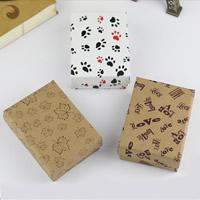 Kraft Pudełko na zestaw biżuterii, Pierścień & kolczyk, ze Tektura, Kwadrat, różnej wielkości do wyboru & różne wzory do wyboru, 5Torby/wiele, 12komputery/torba, sprzedane przez wiele