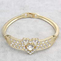Zinc Alloy Bangle, gold color plated, with rhinestone, nickel, lead & cadmium free, 64x62x19mm, Inner Diameter:Approx 59x54mm, Length:Approx 6.5 Inch, Sold By PC