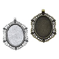 Zinc Alloy Pendant Cabochon Setting, Flat Oval, plated, more colors for choice, nickel, lead & cadmium free, 37x53x2.50mm, Hole:Approx 3mm, Inner Diameter:Approx 25x35mm, Approx 111PCs/KG, Sold By KG