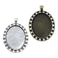 Zinc Alloy Pendant Cabochon Setting, Flat Oval, plated, more colors for choice, nickel, lead & cadmium free, 39x58x2.50mm, Hole:Approx 4x6.5mm, Inner Diameter:Approx 30x40mm, Approx 105PCs/KG, Sold By KG