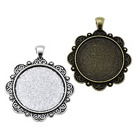 Zinc Alloy Pendant Cabochon Setting, Flat Round, plated, more colors for choice, nickel, lead & cadmium free, 42x51x2.50mm, Hole:Approx 4x6mm, Inner Diameter:Approx 30mm, Approx 111PCs/KG, Sold By KG