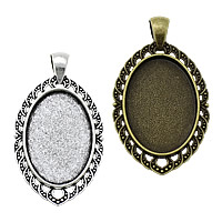 Zinc Alloy Pendant Cabochon Setting, Flat Oval, plated, more colors for choice, nickel, lead & cadmium free, 28x50x2.50mm, Hole:Approx 4x6mm, Inner Diameter:Approx 20x30mm, Approx 166PCs/KG, Sold By KG