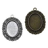 Zinc Alloy Pendant Cabochon Setting, Flat Oval, plated, more colors for choice, nickel, lead & cadmium free, 29x41x2.50mm, Hole:Approx 3mm, Inner Diameter:Approx 18x25mm, Approx 175PCs/KG, Sold By KG