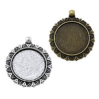 Zinc Alloy Pendant Cabochon Setting, Flat Round, plated, more colors for choice, nickel, lead & cadmium free, 34x40x2.50mm, Hole:Approx 3mm, Inner Diameter:Approx 25mm, Approx 153PCs/KG, Sold By KG