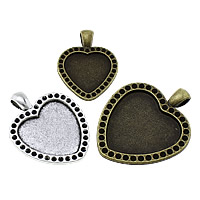 Zinc Alloy Pendant Cabochon Setting, Heart, plated, different size for choice, more colors for choice, nickel, lead & cadmium free, Hole:Approx 4x6.5mm, Sold By KG
