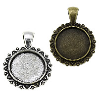 Zinc Alloy Pendant Cabochon Setting, Flat Round, plated, more colors for choice, nickel, lead & cadmium free, 25x34x2.50mm, Hole:Approx 4x6.5mm, Inner Diameter:Approx 18mm, Approx 250PCs/KG, Sold By KG
