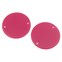 Acrylic Connectors, Flat Round, 1/1 loop & solid color, fuchsia, 30x2mm, Hole:Approx 1mm, 2Bags/Lot, Approx 270PCs/Bag, Sold By Lot