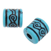 Antique Acrylic Beads, Column, large hole & Imitation Antique, blue, 12mm, Hole:Approx 4mm, 2Bags/Lot, Approx 380PCs/Bag, Sold By Lot