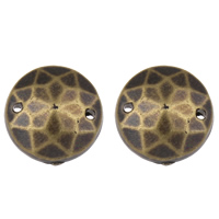 Acrylic Connectors, Flat Round, antique bronze color plated, faceted, 12mm, Hole:Approx 1mm, 2Bags/Lot, Approx 600PCs/Bag, Sold By Lot
