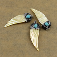 Natural Yellow Shell Pendants Brass with Rhinestone Clay Pave   Turquoise   Yellow Shell Wing Shape platinum color plated nickel lead   cadmium free 18x55x9mm Hole:Approx 3x5mm 10PCs/Lot