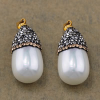 South Sea Shell Pendant, Brass, with Rhinestone Clay Pave & South Sea Shell, gold color plated, natural, nickel, lead & cadmium free, 15x30.50x15mm, Hole:Approx 4x4mm, 10PCs/Lot, Sold By Lot