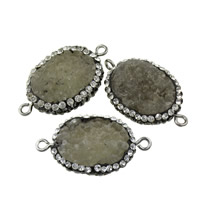 Druzy Connector, Brass, with Rhinestone Clay Pave & Agate, Flat Oval, platinum color plated, druzy style & 1/1 loop, nickel, lead & cadmium free, 32-33x18.5-20x7-8mm, Hole:Approx 3x5mm, 10PCs/Lot, Sold By Lot