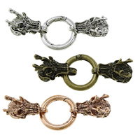 Zinc Alloy Snap Clasp, Dragon, plated, with end cap & blacken, more colors for choice, nickel, lead & cadmium free, 66mm, 24x13x21mm, 25x3.5mm, Hole:Approx 9x7mm, 20Sets/Lot, Sold By Lot