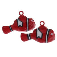 Brass Bell Pendant, Fish, painted, red, nickel, lead & cadmium free, 30x19x12mm, Hole:Approx 2mm, Sold By PC
