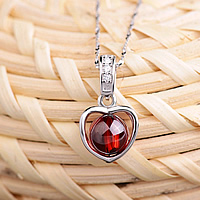 925 Sterling Silver Pendant with Garnet Heart natural January Birthstone   with cubic zirconia red 11x20mm Hole:Approx 3x6mm 2PCs/Lot
