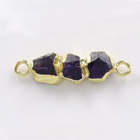 Quartz Connector, Brass, with Amethyst, gold color plated, February Birthstone & natural & 1/1 loop, nickel, lead & cadmium free, 35x10.50x7.50mm, Hole:Approx 3mm, 5PCs/Lot, Sold By Lot