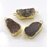 Druzy Connector Brass with Ice Quartz Agate gold color plated natural   druzy style   mixed   1/1 loop nickel lead   cadmium free 36-40x15-18x5-10mm Hole:Approx 3mm 10PCs/Lot