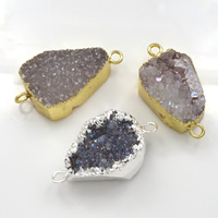 Druzy Connector Brass with Ice Quartz Agate plated natural   druzy style   mixed   1/1 loop nickel lead   cadmium free 36-40x20-23x8-13mm Hole:Approx 3mm 10PCs/Lot