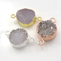 Druzy Connector Brass with Ice Quartz Agate Flat Round plated natural   druzy style   1/1 loop nickel lead   cadmium free 23-28x15-17x6-8mm Hole:Approx 2mm 10PCs/Lot
