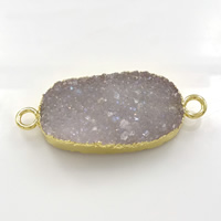 Druzy Connector Brass with Ice Quartz Agate Flat Oval gold color plated natural   druzy style   1/1 loop nickel lead   cadmium free 39x16.50x6mm Hole:Approx 3mm 5PCs/Lot