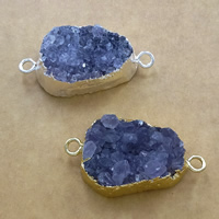 Druzy Connector Brass with Ice Quartz Agate plated natural   druzy style   1/1 loop mixed colors nickel lead   cadmium free 37-40x18-23x10-13mm Hole:Approx 3mm 10PCs/Lot