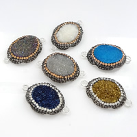 Druzy Connector Brass with Rhinestone Clay Pave   Ice Quartz Agate Flat Oval silver color plated natural   druzy style   1/1 loop mixed colors nickel lead   cadmium free 36-37x22-24x5-10mm Hole:Approx 3mm 10PCs/Lot