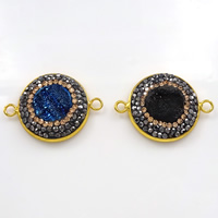 Druzy Connector Brass with Rhinestone Clay Pave   Ice Quartz Agate Flat Round gold color plated natural   druzy style   1/1 loop mixed colors nickel lead   cadmium free 30x22x5mm Hole:Approx 2.5mm 10PCs/Lot