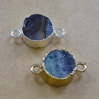 Druzy Connector Brass with Ice Quartz Agate Flat Round plated druzy style   1/1 loop mixed colors nickel lead   cadmium free 25x15x7mm Hole:Approx 3mm 10PCs/Lot