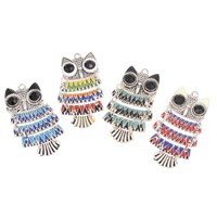 Zinc Alloy Animal Pendants Owl antique silver color plated enamel   with rhinestone nickel lead   cadmium free 48x25.50x5mm Hole:Approx 2mm