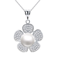 South Sea Shell Pendant 925 Sterling Silver with South Sea Shell Flower natural with cubic zirconia 20x27mm Hole:Approx 3x5mm 2PCs/Lot