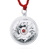 990 Sterling Silver Pendant, Flat Round, with cubic zirconia, 20x27mm, Hole:Approx 4mm, 2PCs/Lot, Sold By Lot
