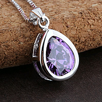 925 Sterling Silver Pendant, Teardrop, with cubic zirconia, purple, 9x19mm, Hole:Approx 3x5mm, 2PCs/Lot, Sold By Lot