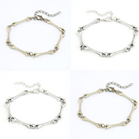 Zinc Alloy Bracelet iron lobster clasp with 5cm extender chain Dog Bone plated bar chain nickel lead   cadmium free 5mm Sold Per Approx 7 Inch Strand
