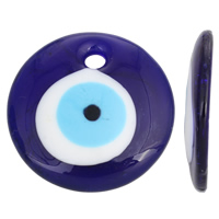 Evil Eye Pendants, Lampwork, Flat Round, handmade, 50x8mm, Hole:Approx 7mm, Sold By PC