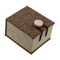 Linen Ring Box, with Sponge & Wood, Rectangle, 60x70x45mm, 24PCs/Lot, Sold By Lot