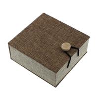 Hemp Bransoletka Box, Len, ze Gąbka & Drewno, Kwadrat, 100x105x45mm, 18komputery/wiele, sprzedane przez wiele