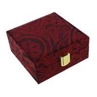 Satin Bracelet Box, with Cardboard & Zinc Alloy, Square, gold color plated, red, 112x112x55mm, 12PCs/Lot, Sold By Lot